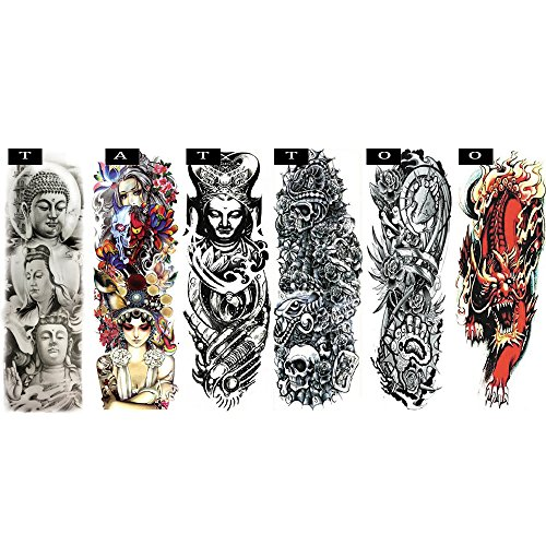 Pinkiou Temporary Tattoo Full Arm Body Stickers Arm Shoulder Tattoo For Man Women Buddha, Skull, Eagle eye, Beauty and Beast Etc (18-0093) -
