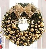 Christmas decorations 30/50/60/80cm Christmas wreath decorations Christmas inn shopping Mall window (40, Golden)