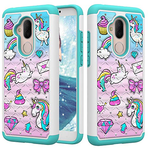 DAMONDY Alcatel 7 Case,Alcatel 7 Folio,Alcatel Revvl 2 Plus 2018,3D Cute Diamond Bling Glitter 2 in 1 Shockproof Hybrid Heavy Duty Shock Dual Layer Armor Defender Cover Phone Case-Mail Horse