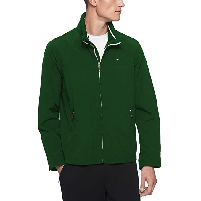 0cf2ce86 Tommy Hilfiger Men's Stand Collar Lightweight Yachting Jacket, Green,  X-Small