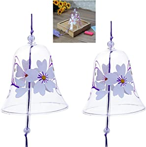 Falytemow Japanese Wind Chimes Romantic Cherry Samll Wind Bells Handmade Glass Japanese Style Pendant for Birthday Gift Home Decors Pack of 2