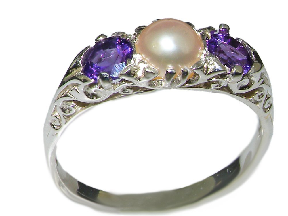 925 Sterling Silver Cultured Pearl and Amethyst Womens Promise Ring - Size 6.5