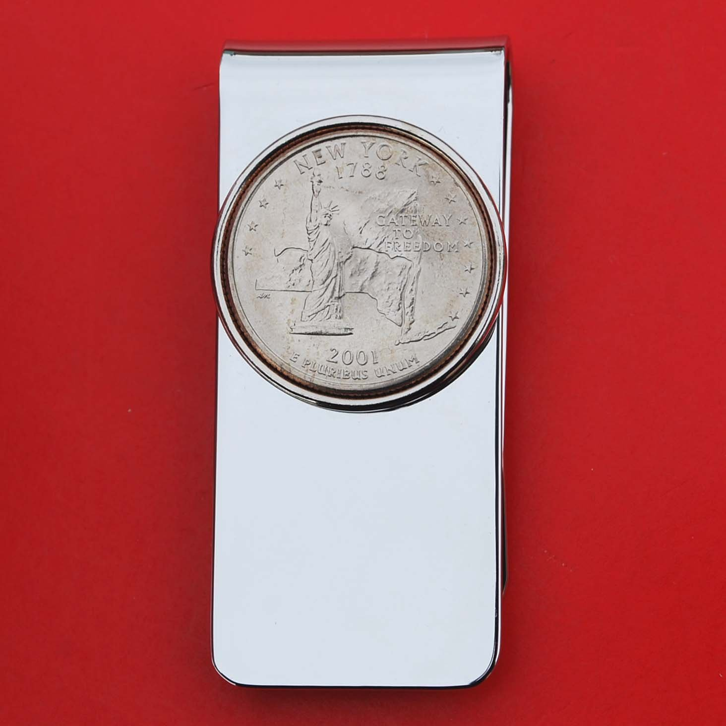 US 2001 New York State Quarter BU Uncirculated Coin Solid Brass Silver Money Clip New - High Quality