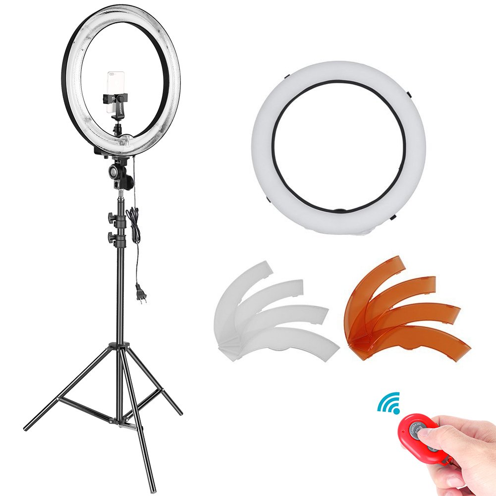 Neewer 18 inches Outer Dimmable Fluorescent Ring Light Lighting Kit with 78.7-inch Light Stand, Diffuser, Filters, Rotatable Phone Holder for Make-up Portrait Video Photography (NO Carrying Bag)