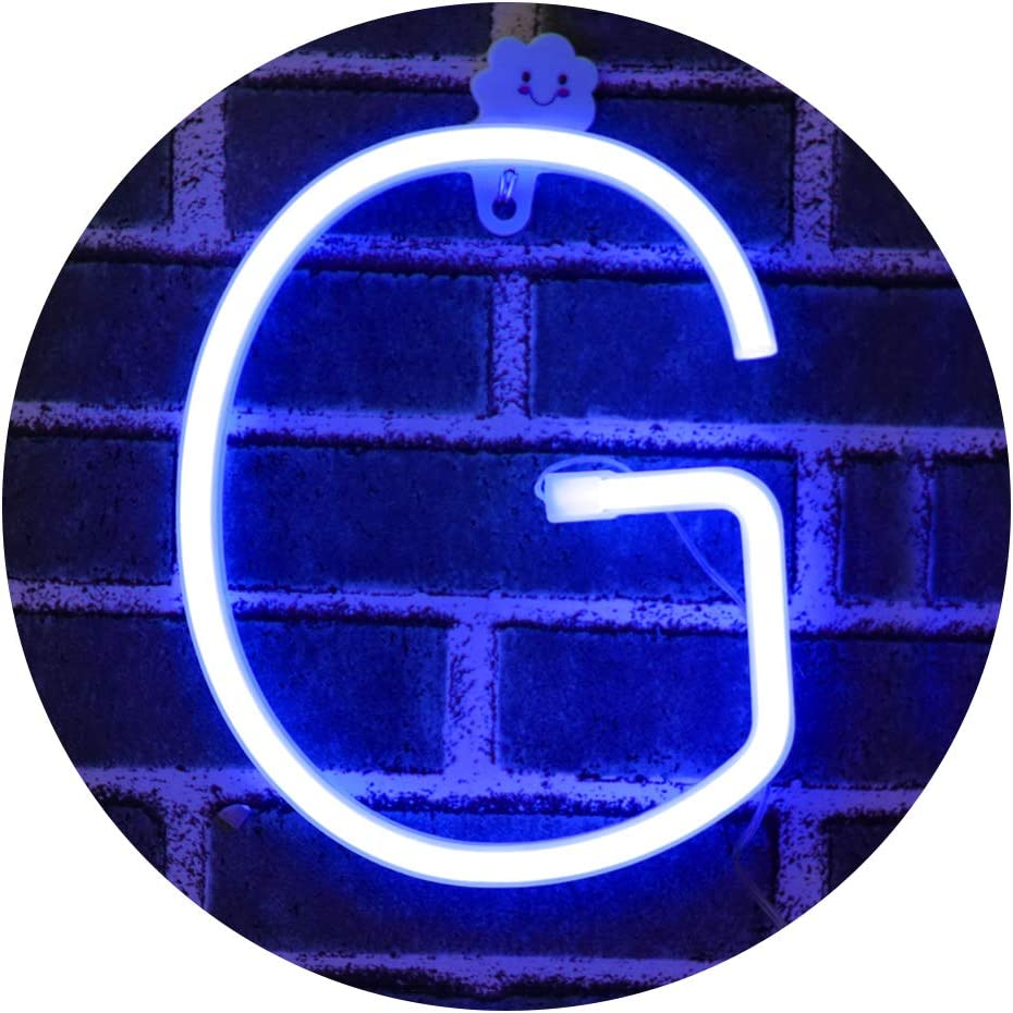 Light Up Letters Neon Signs, blue Marquee Letter Lights Wall Decor for Christmas, Birthday Party, Bar Valentine's Day Words-blue Letter G