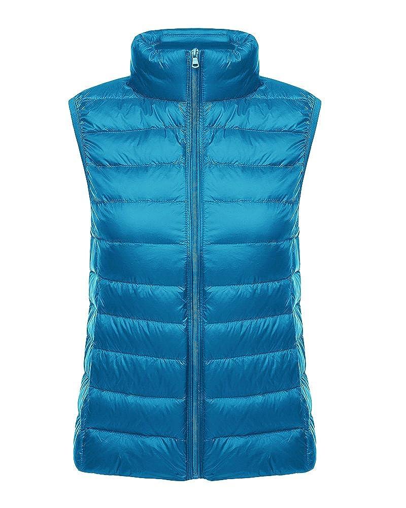 Vedem Women's Ultra Light Down Vest Coat Stand Collar Waistcoat Gilet Coat
