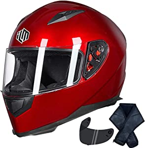 ILM Full Face Motorcycle Street Bike Helmet with Removable Winter Neck Scarf + 2 Visors DOT (M, Red)