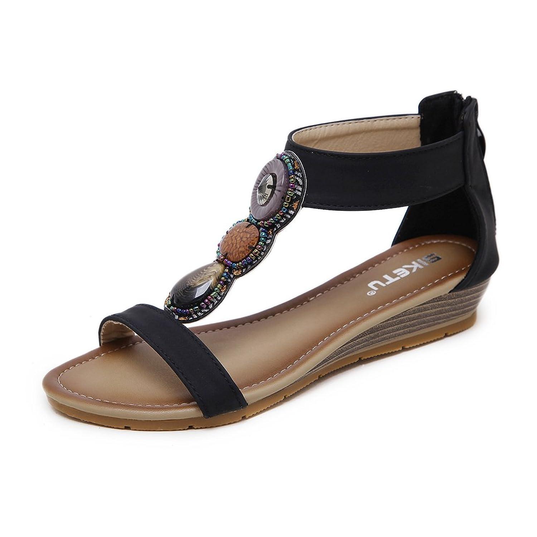 12ee551d De bajo costo Ruiren Sandalias Bohemias Para Las Mujeres, Zapatos Planos de  Las Sandalias de