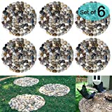garden stepping stones SUNFACE River Rock Stepping Stones Pavers Outdoor for Garden, Set of 6 (Roundness)
