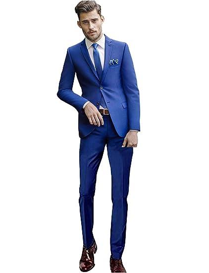 QZI Hombre Conjunto de Chaqueta y pantalón de Traje Slim Fit de 2 ...