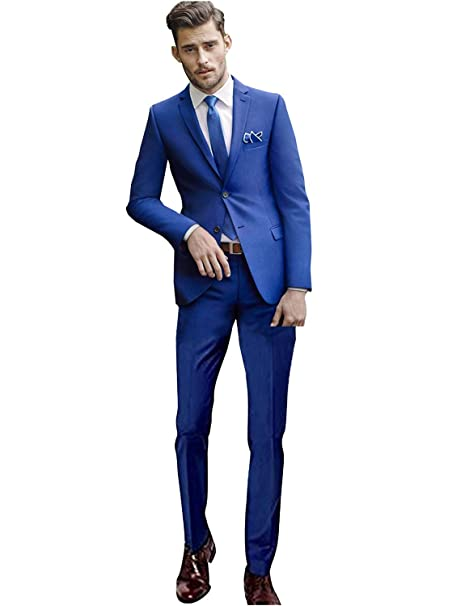 QZI Hombre Conjunto de Chaqueta y pantalón de Traje Slim Fit ...