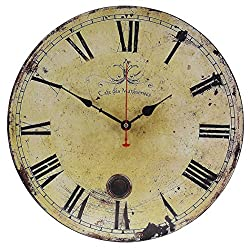 Old Oak 16-Inch Vintage Large Decorative Wall Clock Silent Non-Ticking Round for Kitchen Living Room Bathroom Bedroom Wall Home Decor with Ancient Roman Numerals