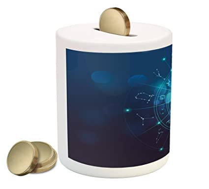 Ambesonne Astrology Piggy Bank By Fortune Telling Birth Chart Zodiac Signs In Space Geometrical Image