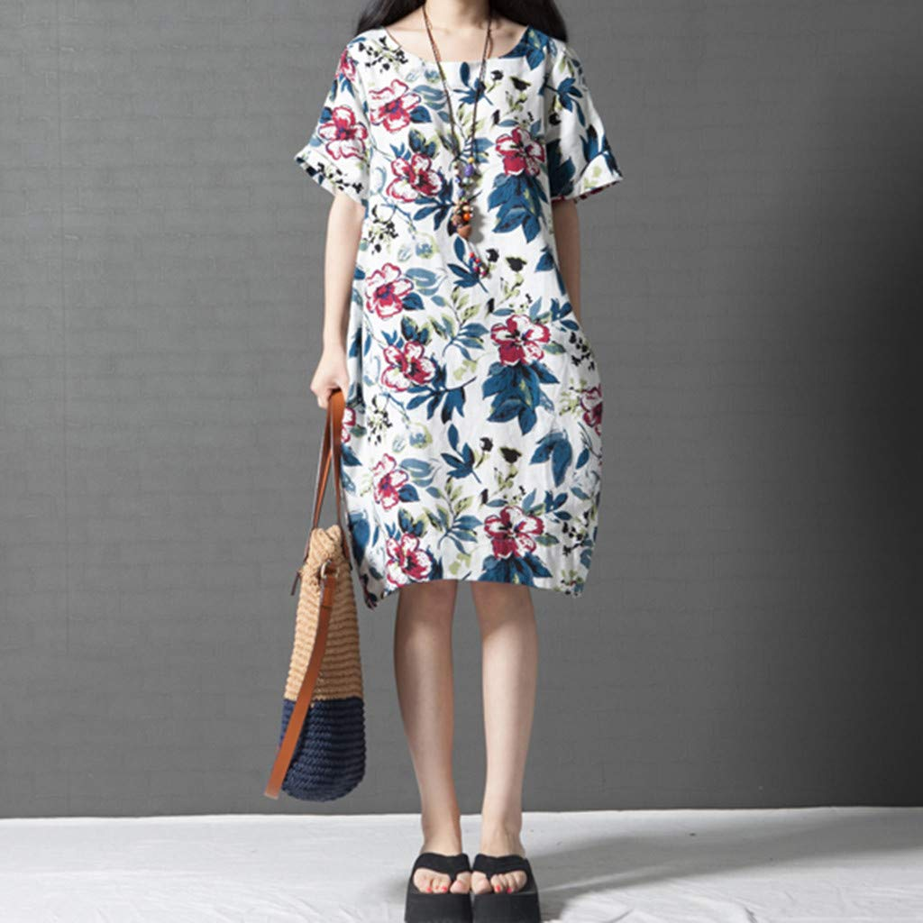 PASATO M-5XL Plus Size Women's Casual Short Sleeve O-Neck Floral Print Cotton Dress With Pockets T-Shirt Dress(White,M=US:S) by PASATO Dress (Image #6)