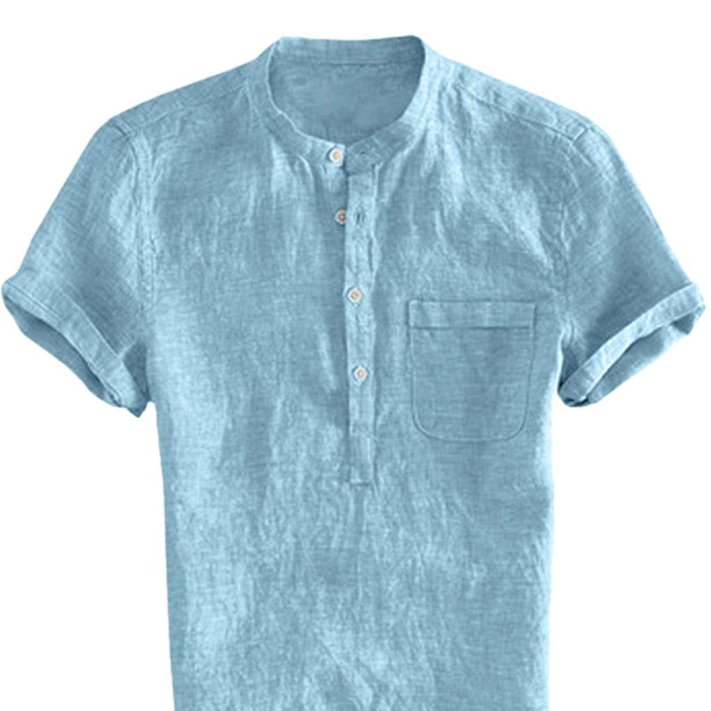 6c5d9be1a37 FeiBeauty Mens Linen Shirts Casual Stand Collar Short Sleeve V-Neck Solid  Color Loose T Shirt Cotton Linen Blouse Casual Tops for Men Plus Size  ...