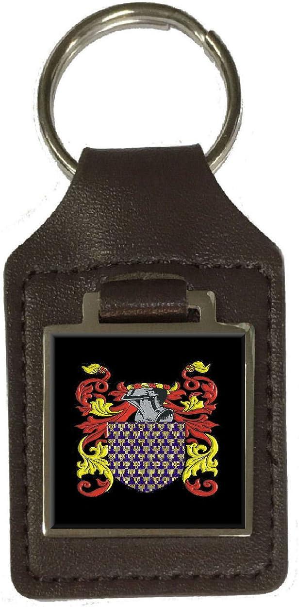 Frankland Family Crest Surname Coat Of Arms Brown Leather Keyring Engraved
