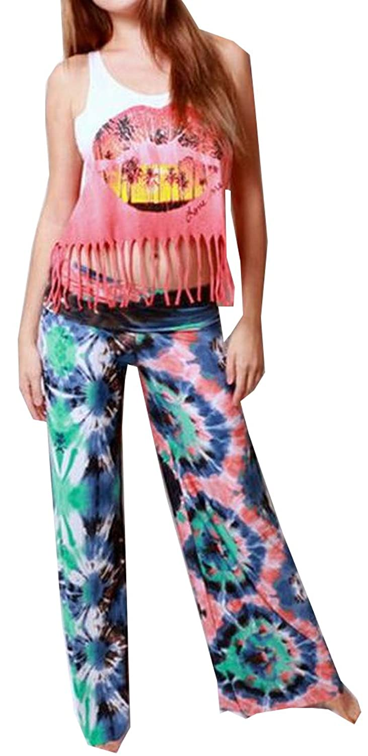 Unko Women's Tribal Pattern Printed Loose Palazzo Casual Pants