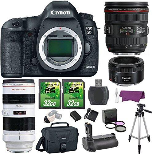 Canon EOS 5D Mark III 22.3 MP DSLR Camera w/ EF 24-70mm f/4L IS USM Lens + EF 70-200mm f/2.8L USM Lens + EF 50mm f/1.8 STM Lens Premium Bundle