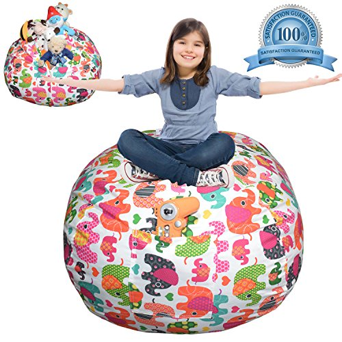 -  Extra Large Stuffed Animal Storage Bean Bag Cover | Europe Made & Lab Tested Fabric | The Ultimate Storage Solution To Clean Up & Organize Kid's Room | Free E-Book (Multi-Color Elephant)