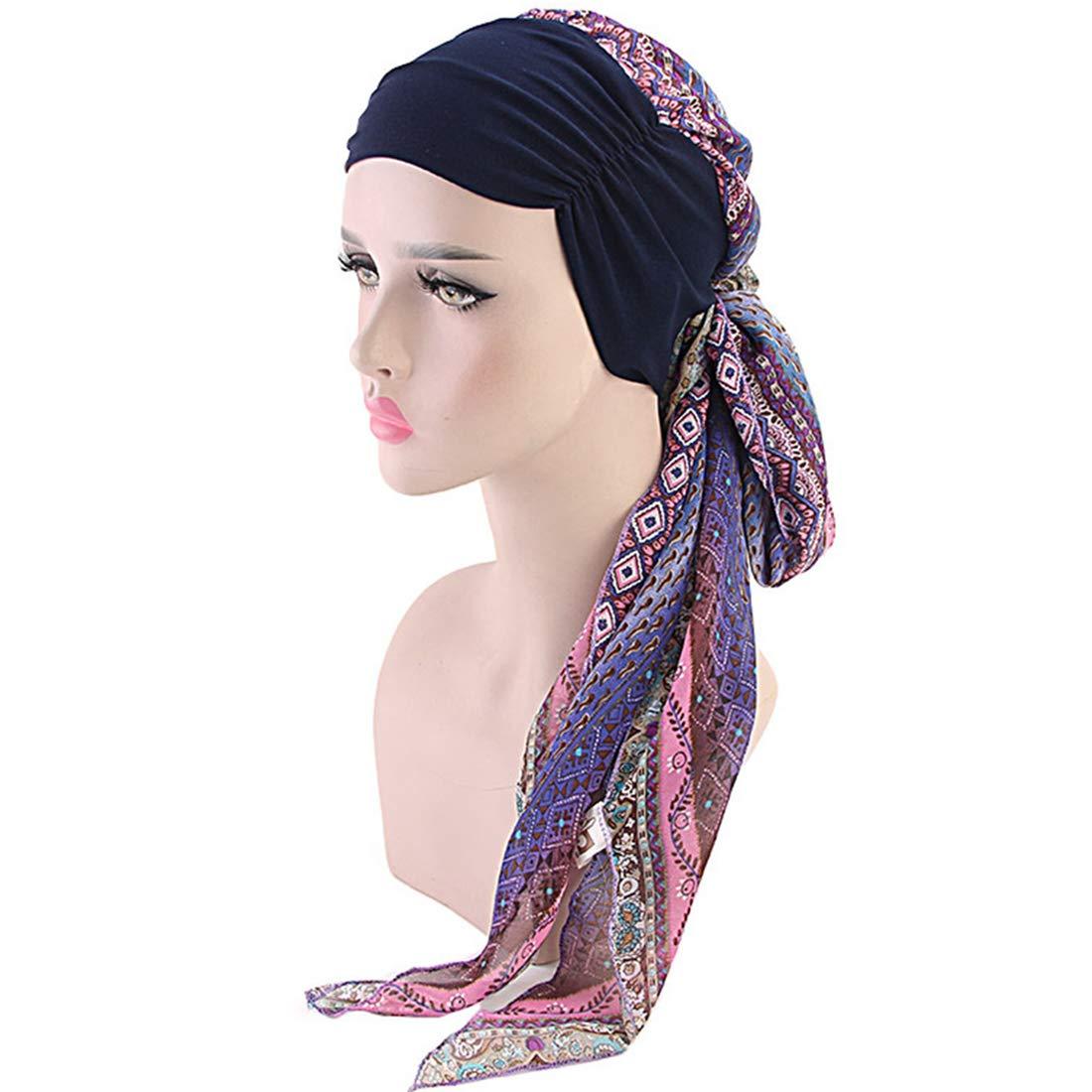 YONKINY Turban Chimio pour Femmes /él/égant Et /élastique Headwear Coiffe avec Fleur Turban Perte de Cheveux Cancer