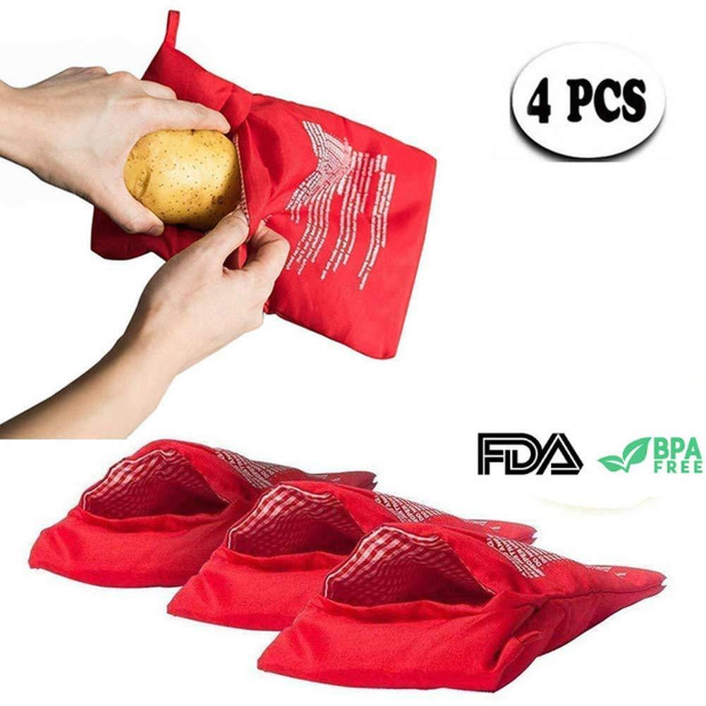 Pack of 4 Microwave Potato Bag,Baked Potato Microwave Baking Bag,Potato Express Pouch Cooker Microwave Potato Cooker Bag,Red