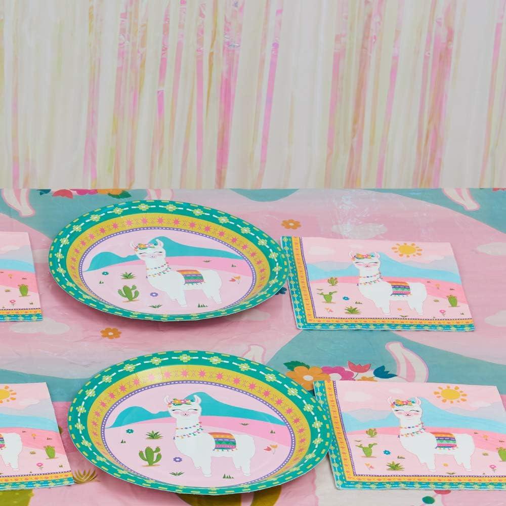 50 St/ück Mittagessen Abendessen Papier Servietten Einweg 3-lagige Rosa Alpaka Kaktus Thema Party Servietten f/ür Baby Shower Kinder Geburtstag WERNNSAI Lama Partyzubeh/ör