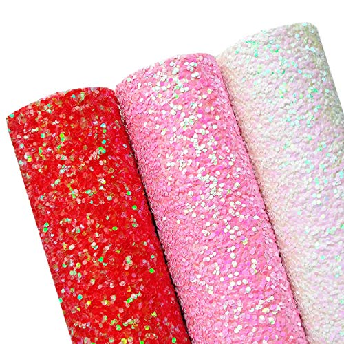 AOUXSEEM Chunky Glitter Sequin Fabric Sheets for Bows【A4 Size】Gorgeous PU Faux Leather Synthetic Craft Fabric for DIY Earrings,Thick Canvas Back,21 cm x 30 cm (Pattern C,3 Colors) ()