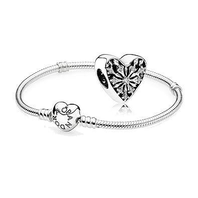 Original Pandora Geschenkset - 1 Silber Armband mit Herz Schließe 590719-17  und 1 Silber Charm Winter Herz 791996CZ  Amazon.de  Schmuck 5e5a118476