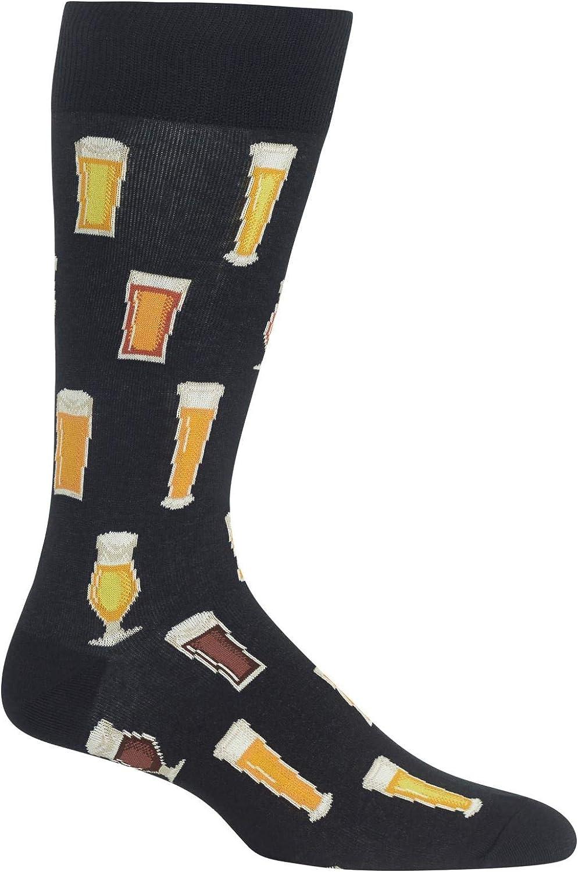Hot Sox Mens Beer Mid Calf Novelty Casual Socks