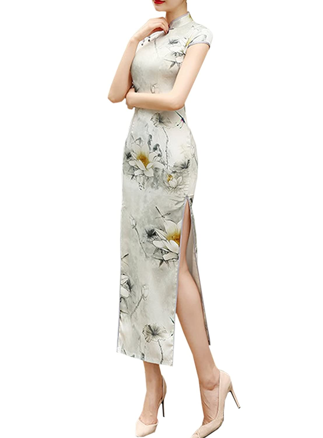 Amazon.com: XueXian(TM) Womens Lotus Chinese Summer Ladies QiPao Gown Long Prom Dresses: Clothing
