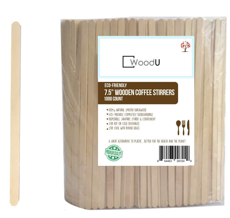 "Wood Coffee Beverage Stirrers, Coffee Stir Sticks 7.5"" (1000 Count) EcoFriendly Completely Biodegradable, Coffee Stirrers For Hot & Cold Beverages as Coffee & Tea Alternative to Plastic Stirrer"