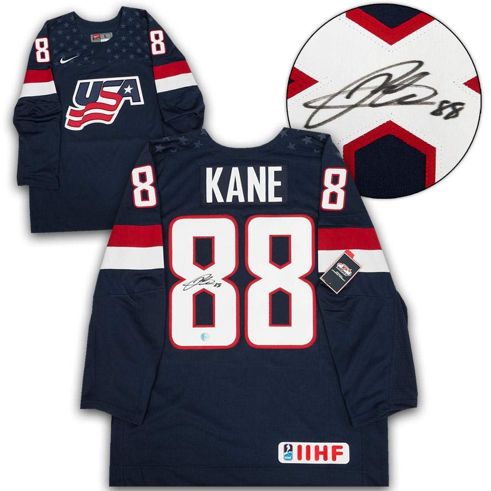 reputable site 03866 fb0c0 Patrick Kane Signed Jersey - USA Blue Nike IIHF ...