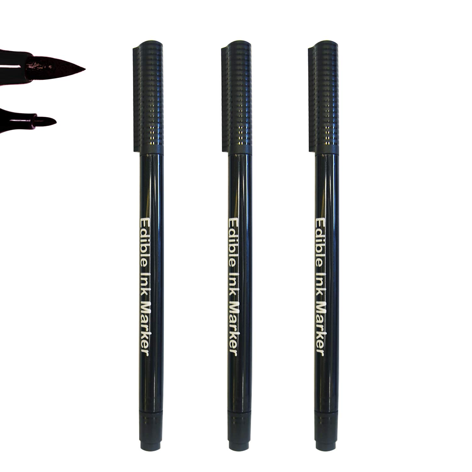 Dual Tips Food Coloring Pens,3PCS Black Color Food Grade and Edible Marker,Gourmet Writers for Decorating Fondant,Cakes, Cookies, Frosting, Easter Eggs, Thick Tip and Fine Tip, by Edibleink