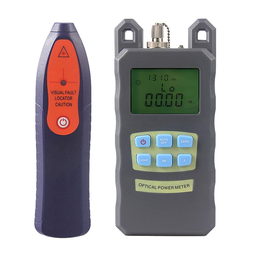 Prettyia A Set Fiber Optic Cable Tester Optical Power Meter with Sc & Fc Connector Fiber Tester +10mW Visual Fault Locator for CATV Test,CCTV Test