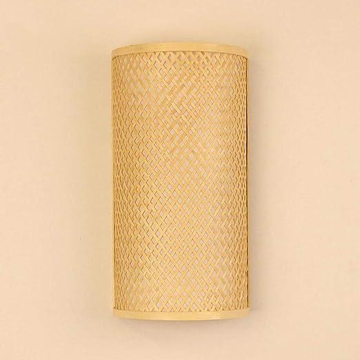 Bamboo Wicker Rattan Lantern Shade Wall Lamp Fixture Rustic Sconce Light Bedroom