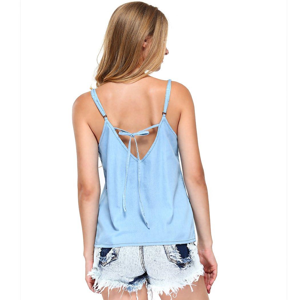 MIOIM Womens Denim Tank Top Sleeveless Vest Adjustable Shoulder Strap Blue Shirt
