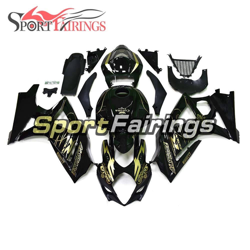 Sportfairings 外装部品セット適応フィットインジェクション ABS 樹脂フェア スズキGSXR 1000 gsxr1000 2007 2008グロスブラックゴールドデカール   B07DL2XGFY
