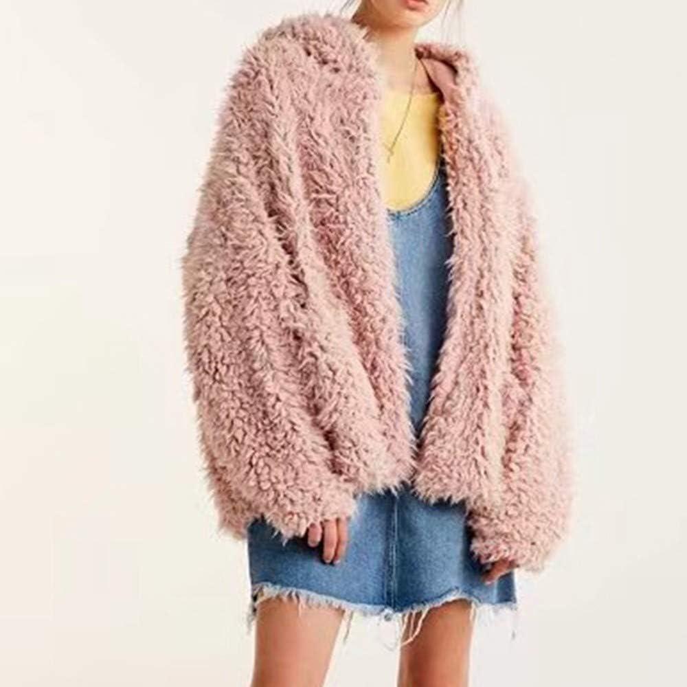 Miuye yuren Winter Faux Shearling Lined Warm Coats for Womens Pink Faux Shearling Lapel Parkas Anoraks Outwear