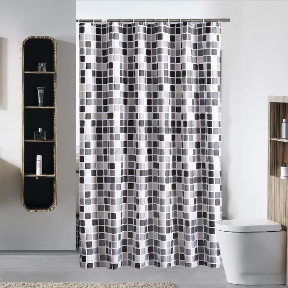 """72x72 /"""" Cortina de baño Tela gris Árbol con ganchos Cortina de baño Impermeable"""