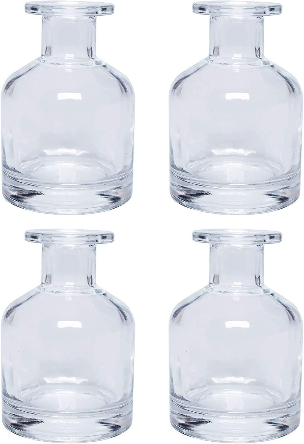 Hosley Set of 4 Glass Clear Bottles- 3.8 Inch High. Ideal Farmhouse Gift for Wedding, Party, Use with Essential Oils, Replacement Diffusers & Reed Sticks, DIY, Crafts, Spa