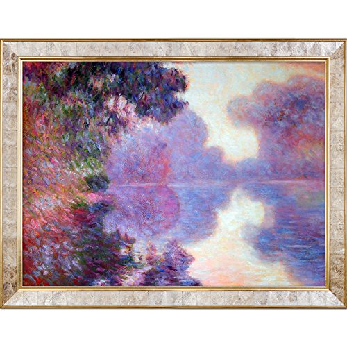 La Pastiche Misty Morning on The Seine (Pink), 1897 with Gold Pearl Framed Oil Painting, X-Large, Monet Inlay (Monet Pink Pearl)