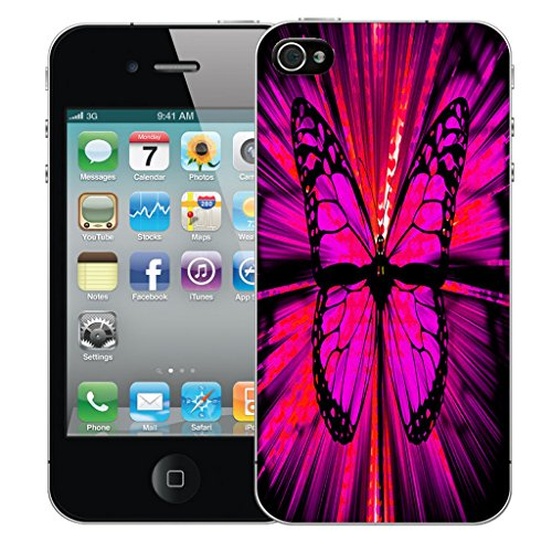 Mobile Case Mate iPhone 4 Silicone Coque couverture case cover Pare-chocs + STYLET - Enchanting Butterfly pattern (SILICON)