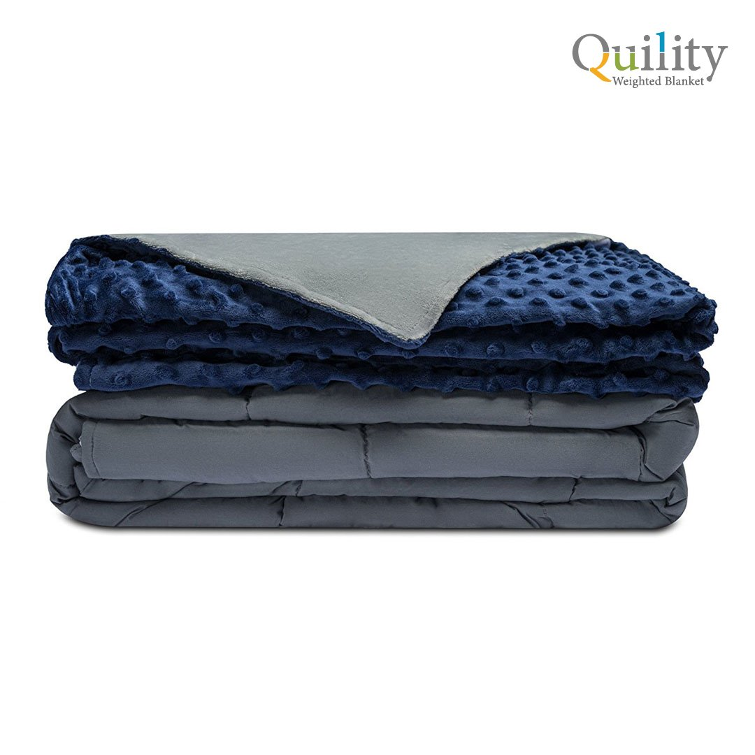 """Premium Adult Weighted Blanket and Removable Cover by Quility 
