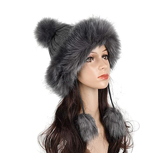 f48784ec Image Unavailable. Image not available for. Color: Sunvy Women's Winter  Faux Fur Knitted Beanie Hat Earflap Caps