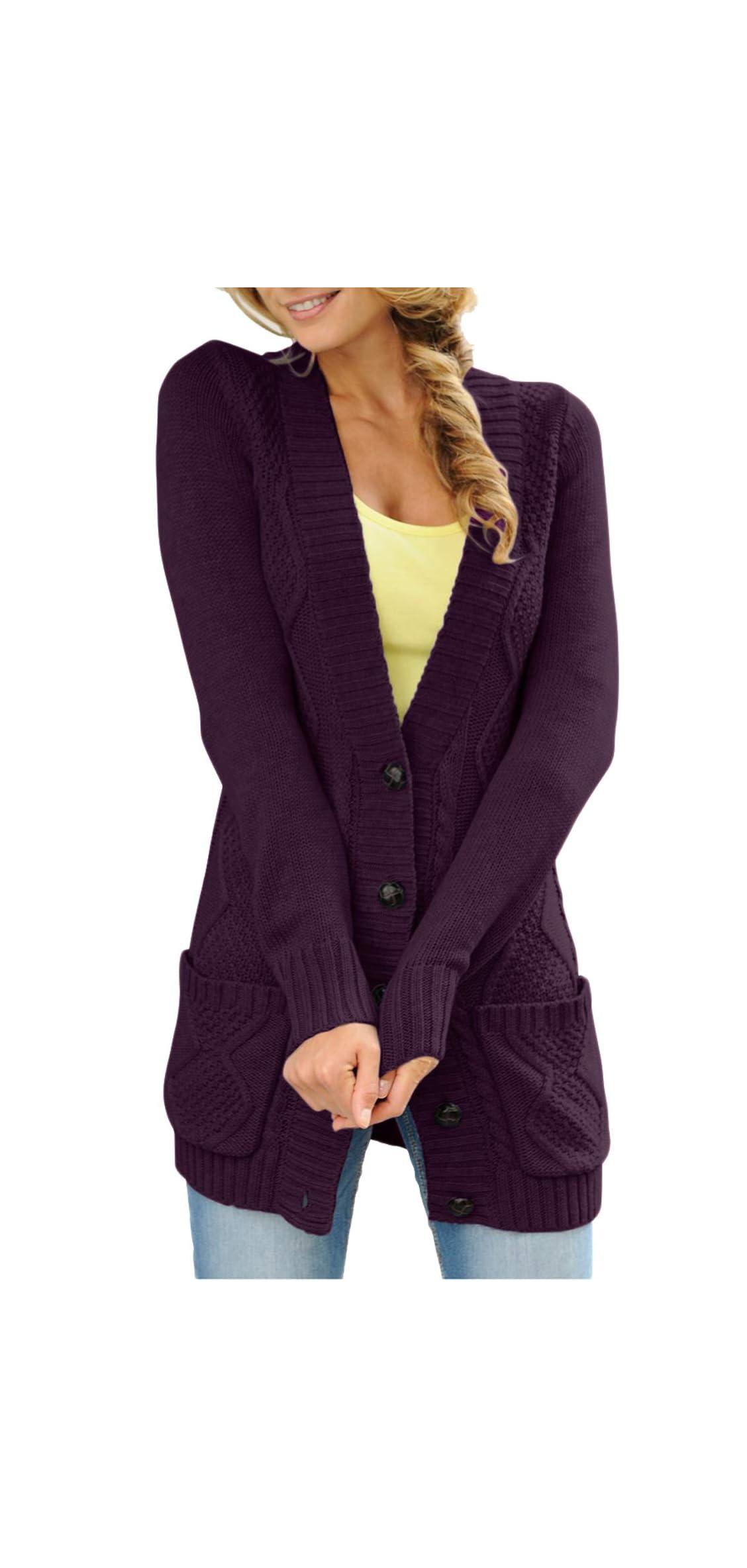 Women Open Front Pocket Cardigan Sweater Button Down