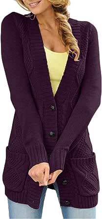 Dokotoo - Cárdigan de manga larga para mujer con bolsillos gruesos de punto, chaleco largo de malla para el aire libre, con botones
