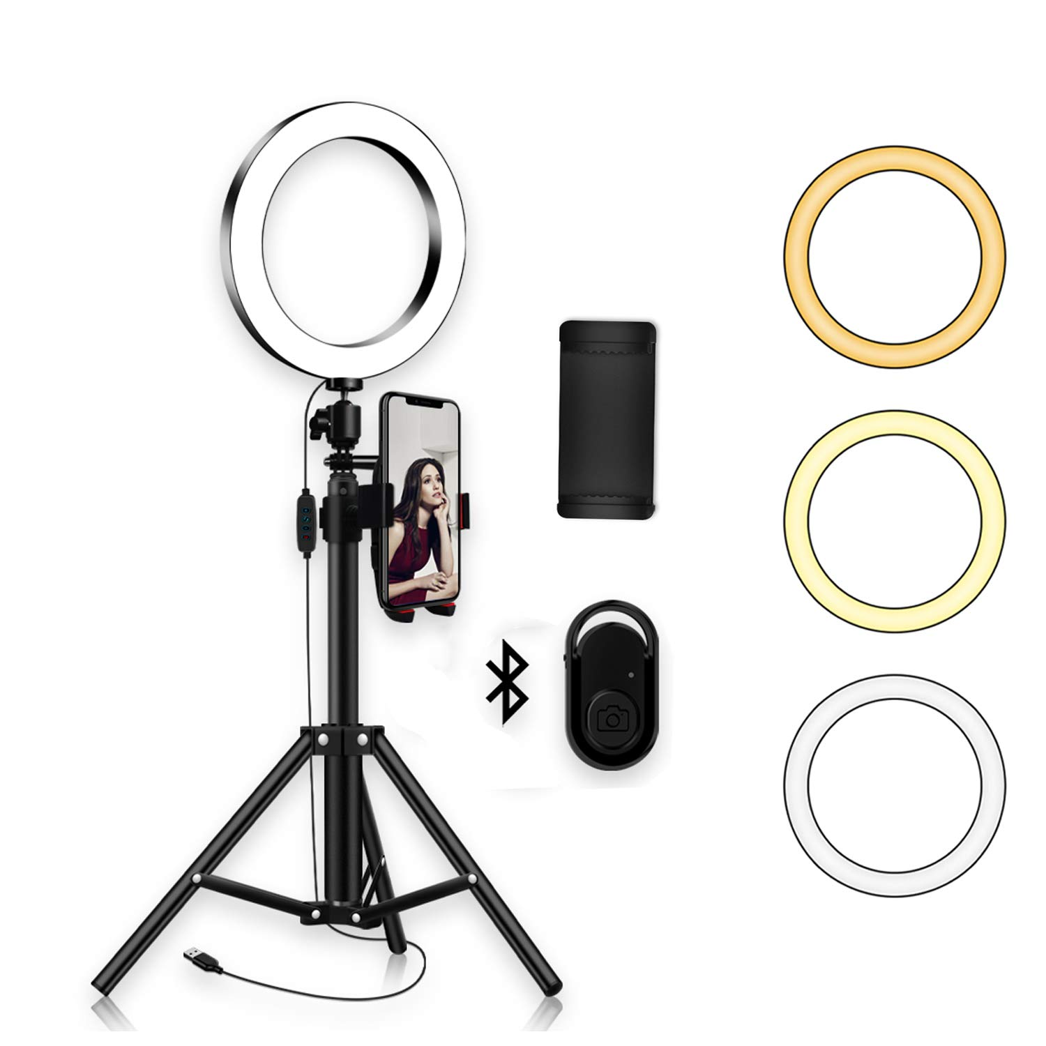 Ring Light with Tripod Stand Phone Selfie Kit - 8 inch LED Camera Ringlight for Makeup YouTube Video Live Blog Photo Studio Lighting, Remote Work with iPhone Xs Max Xr X 7 8 Plus & Android Phones by YingnuoST
