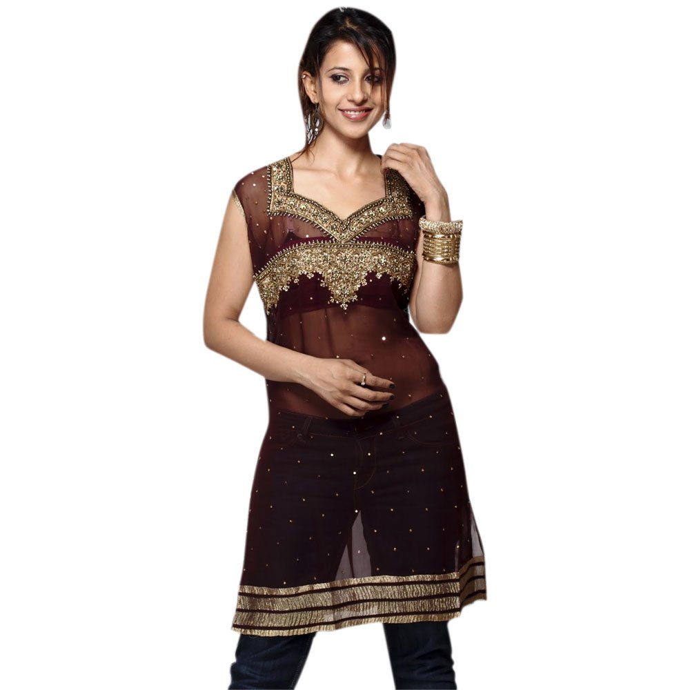 Fashion Sleeve Less Georgette Tunic Full Sequence Work Dress (xxl)