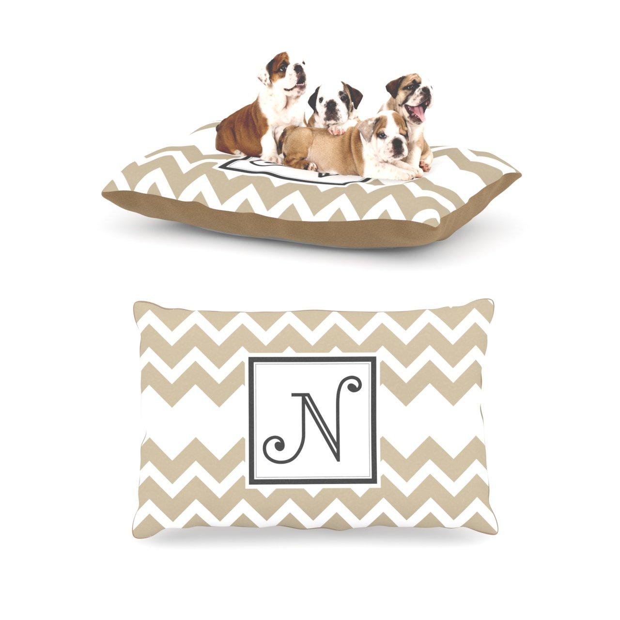 N Large 30  x 40 Kess InHouse Chevron Tan Fleece Dog Bed, 30 by 40Inch, Monogram LetterH