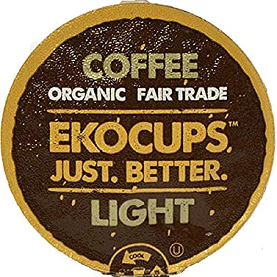 EKOCUPS Artisan Organic Light Gourmet Coffee, medium roast, in Recyclable Single Serve Cups for Keurig K-cup Brewers, 40 count